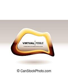 blob pebble orange - Golden shape icon blob with copy space...