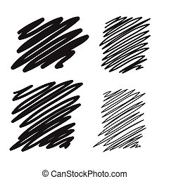 Blobs set vector hand drawn illustration. Collection of black paint marker