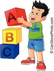 bloc alphabet, garçon, peu, jouer