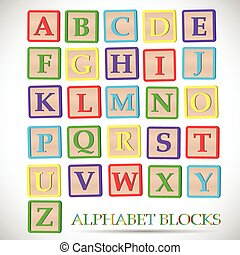 bloc alphabet, illustration