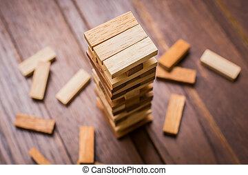 bloc bois, tour, jeu, pour, enfants