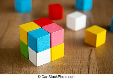 bloc couleur, bois