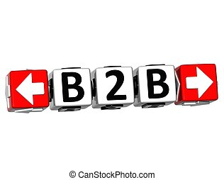 bloc, déclic, texte, ici, 3d, bouton, b2b