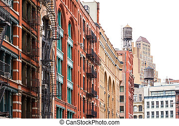 bloc, de, bâtiments, dans, soho, manhattan, new york