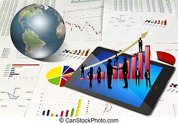bloc effleurement, financier, graphiques