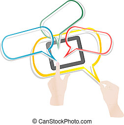 bloc effleurement, intelligent, téléphone, relier, nuage, réseau