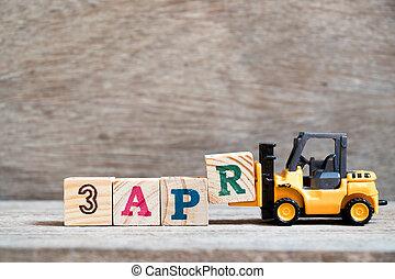 bloc, jouet, mot, complet, élévateur, mois, 3, bois, (concept, prise, fond, date, calendrier, r, 3apr, april)