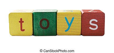 bloc, jouets, lettres