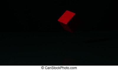 bloc, noir, rotation, surface, rouges
