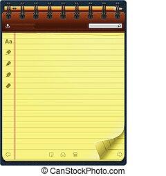 bloc-notes, gabarit, vecteur, vertical
