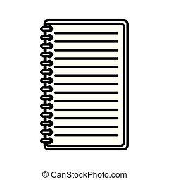 bloc-notes, isolé, bureau, icône