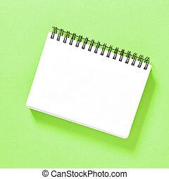 bloc-notes, spirale, papier, livre, arrière-plan vert