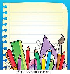 bloc, página en blanco, y, papelería, 2