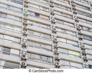 bloc, vue, appartements, balcons
