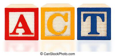 blocchi, alfabeto, americano, università, atto, prova