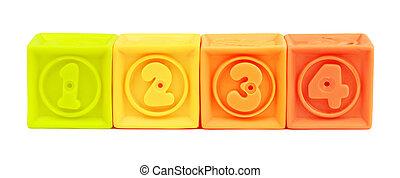 blocchi giocattolo, colorito, numero, isolato, fondo, bianco