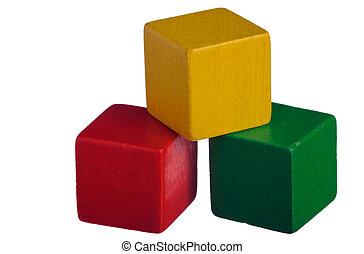 blocchi, legno, costruzione