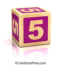blocchi, legno, numero 5, cinque, font
