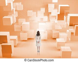 blocchi, standing, vista, arancia, donna d'affari, retro, stanza