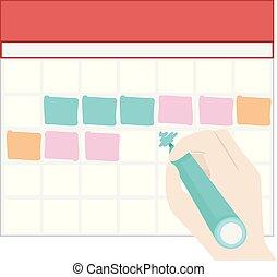 blocco, colori, mano, pieno, marchio, illustrazione, calendario