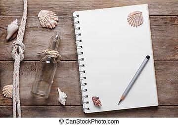 blocco note, alterato, sgusciare, legno, corda, vuoto, tavola, matita