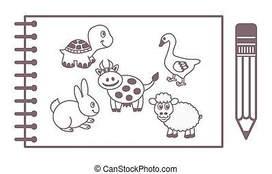 blocco note, animali