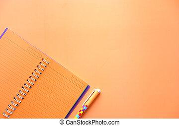 blocco note, cima, penna, vista, spazio, arancia, copia