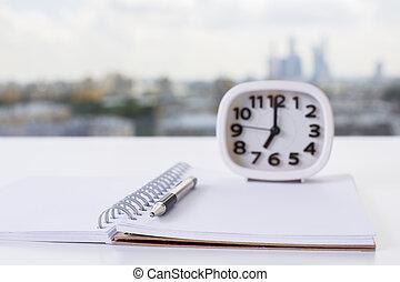 blocco note, closeup, spirale, orologio