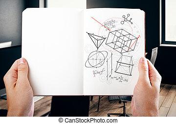 blocco note, figure, geometrico