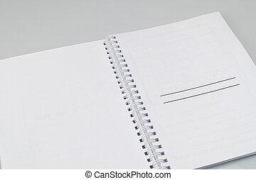 blocco note, fondo, bianco