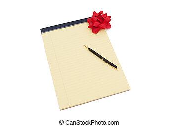 blocco note, giallo, arco, copy-space, penna, vuoto, foderare, rosso