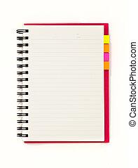blocco note, isolato, quaderno, fondo, bianco rosso