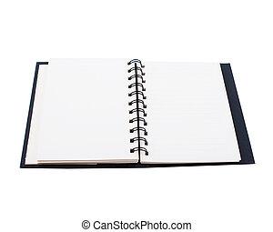 blocco note, isolato, sfondo nero, bianco, aperto
