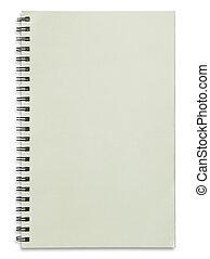 blocco note, isolato, spirale, fondo, vuoto, bianco