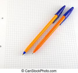 blocco note, penna, carta, controllato, due