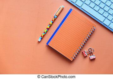 blocco note, penna, spazio, copia, arancia, tastiera