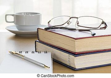 blocco note, penna, vuoto, mettere, aperto, pagina