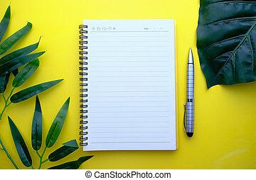 blocco note, vista, penna, alto, colore sfondo, angolo, tè, aperto