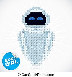 blocco, robogirl, illustrazione