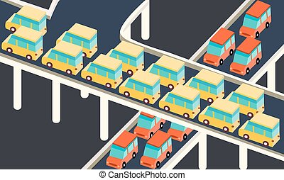 blocco traffico, automobile, attesa, appiccicato, linea, strada, città