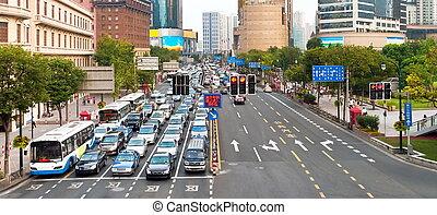 blocco traffico, in, sciangai