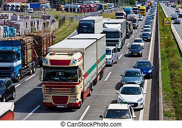 blocco traffico, su, autostrada