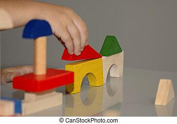 Block Building - Photo of Wooden Blocks