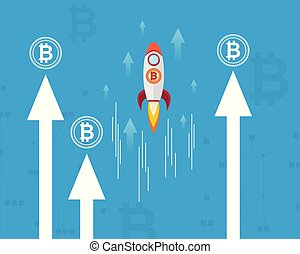 Block chain background with rocket vector illustration
