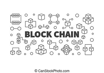 Block Chain cryptocurrency concept vector line banner -...