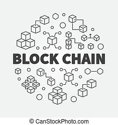 Block Chain cryptocurrency vector round outline illustration...