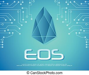 Block chain eos background collection vector illustration
