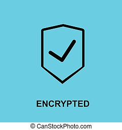 Block chain flat icon. Encrypted symbol. - Vector...