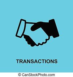 Block chain flat icon. Transactions symbol. - Vector...