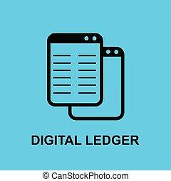 Block chain flat icon.Digital ledger symbol. - Vector...